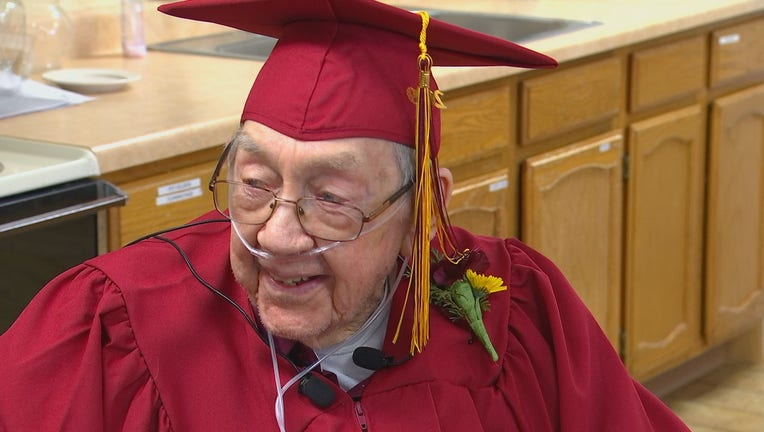 Clifford Hanson wasn't able to go to high school due to obligations on his family farm in the 1930s. Monday, at age 91, he received his diploma.