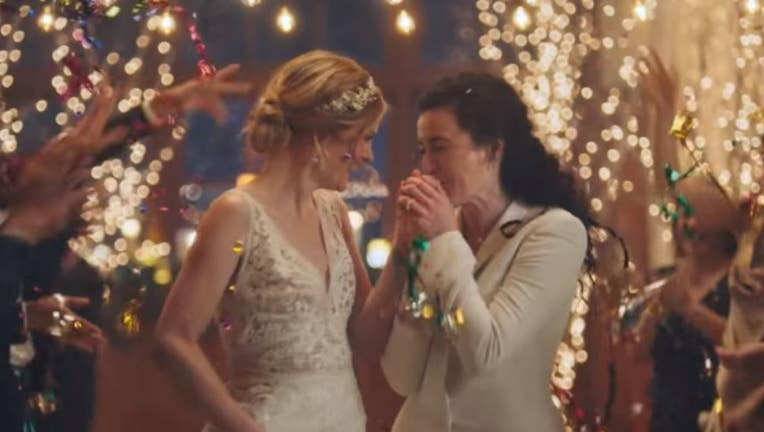 Ad on Hallmark that showed a same-sex couple kissing at their wedding