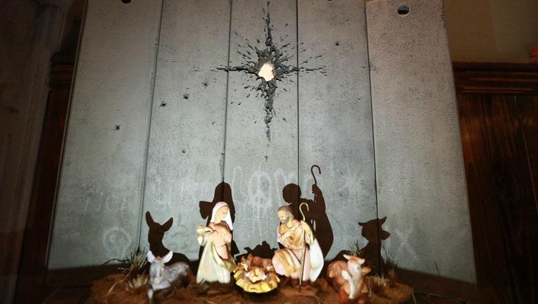 GETTY Banksy nativity display in Bethlehem
