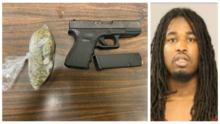 Varnell Dixon and the gun and marijuana police said they confiscated from him