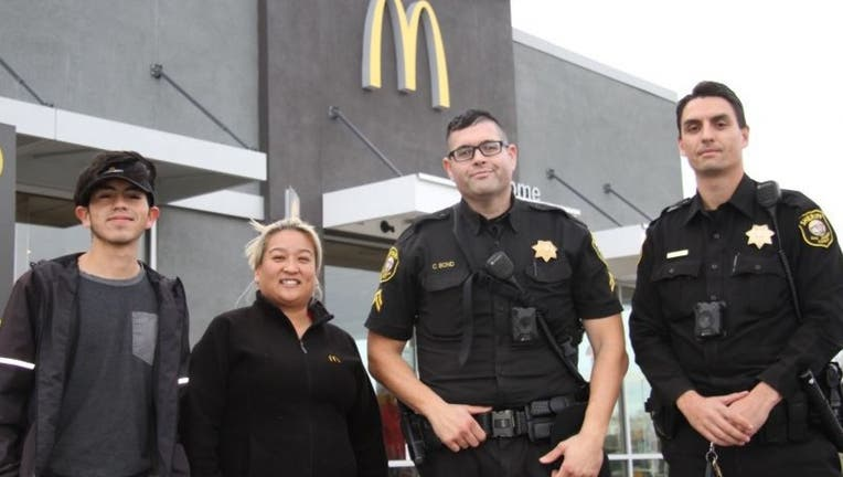While in the drive-thru, a woman mouthed to an employee,