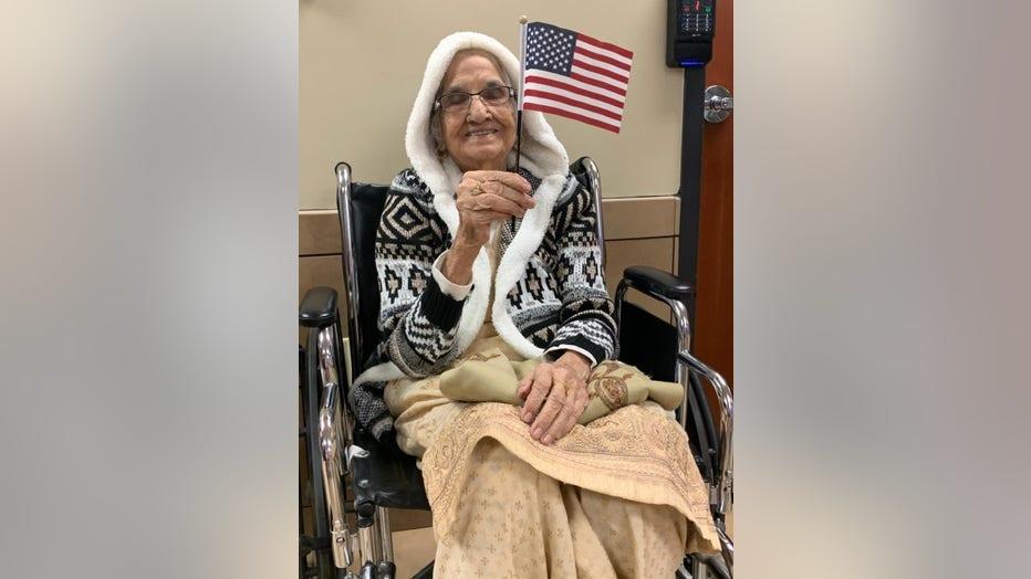 Lawrenceville resident Saraswati Devi, 100, celebrates becoming a U.S. citizen.