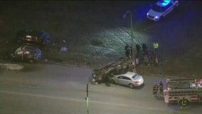 Porsche blows stop sign in Brighton Park, causing 4-car crash