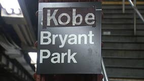 Bryant Park subway sign changed to read Kobe Bryant Park