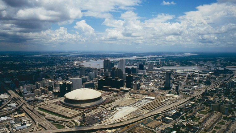 Aerial view of Superdome in New Orleans