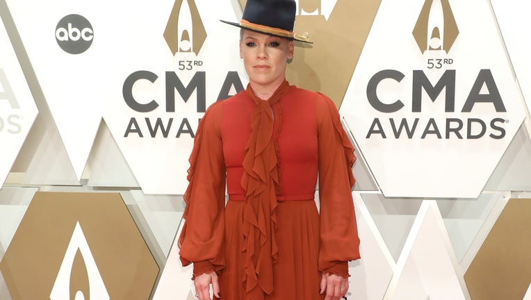 NASHVILLE, TENNESSEE - NOVEMBER 13: (FOR EDITORIAL USE ONLY) P!nk attends the 53nd annual CMA Awards at Bridgestone Arena on November 13, 2019 in Nashville, Tennessee. (Photo by Taylor Hill/Getty Images)