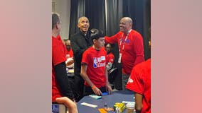 Barack Obama appears at All-Star NBA Cares event