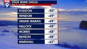Wind chill of -50 in Fosston, Minnesota is coldest in state