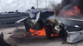 Good Samaritans rescue injured driver from burning car wreck on Miami highway
