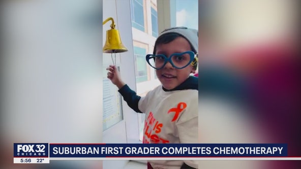 Watch: First grader completes chemo, rings bell at Chicago hospital
