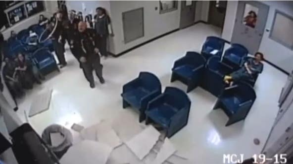 Woman tries to escape jail, ends up falling out of ceiling and landing in trash can