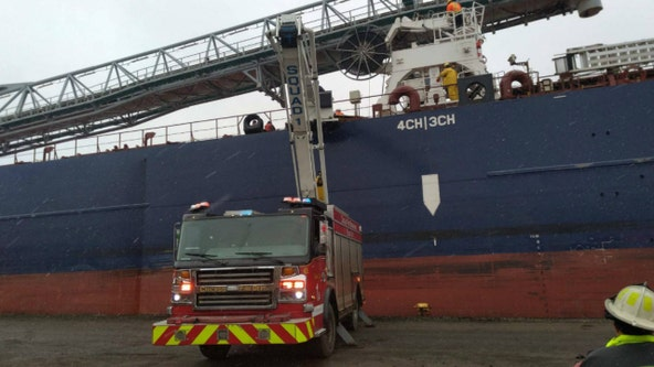 Boat crew member rescued after falling 100 feet into cargo hold of ship on Southeast Side