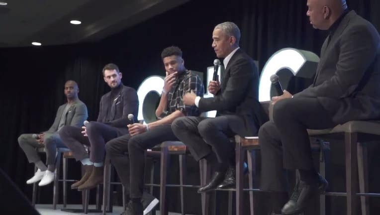 Obama discussion with NBA players Giannis Antetokounmpo, Kevin Love and Chris Paul