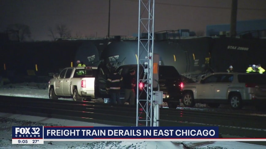 Freight train derails in East Chicago as nearby businesses forced to evacuate