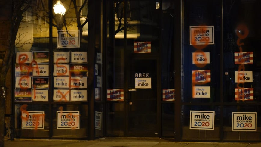 Graffiti spray-painted on Bloomberg campaign office in Edgewater