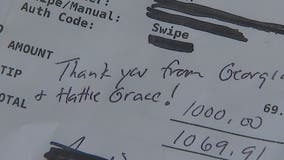 'I froze like a statue': Man leaves server $1,000 tip on a to-go order