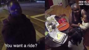 Kindhearted cop gives mom ride home, buys birthday cake for daughter's first birthday