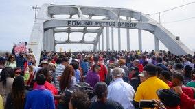 Democratic candidates join Selma bridge march