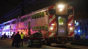 4 hospitalized, including child, after Metra train hits car in South Shore