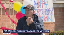 96th birthday parade held for suburban World War II veteran