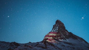 American Flag projected onto Matterhorn in Swiss Alps in show of coronavirus solidarity