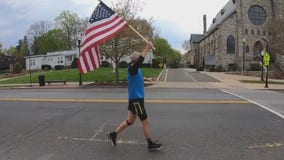 Moorestown man runs holding American flag to help lift spirits during COVID-19
