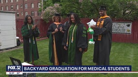 Chicago family holds backyard graduation for their medical student daughter and her friend