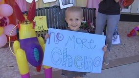 More than 150 cars turn out for parade to celebrate little girl's last cancer treatment
