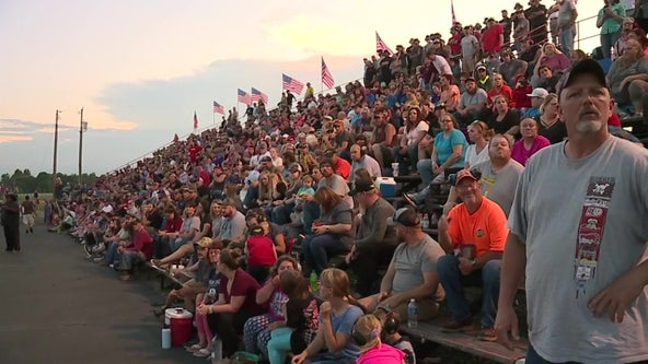 Thousands of racing fans pack the stands at North Carolina speedway