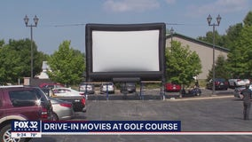 Suburban golf course turns parking lot into drive-in movie theater