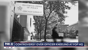 Controversy surrounds photo of Chicago cop kneeling outside police union office
