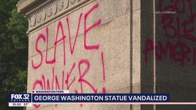 'Slave owner' spray painted on George Washington monument in Chicago