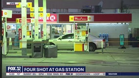 4 shot while sitting in vehicle at gas station on the Near North Side