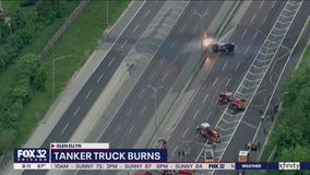 All lanes I-355 lanes reopen after tanker crash, fire near Glen Ellyn