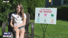 12-year-old sells lawn signs to raise money for bailout program