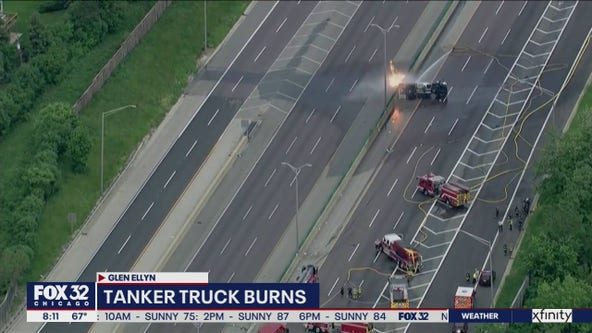 Lanes blocked on I-355 near Glen Ellyn after tanker crash, fire