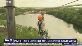 FOX 32's Jake Hamilton ziplines at 'The Forge'
