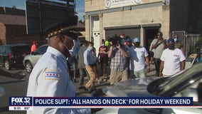Chicago mayor, top cop hand out free groceries, masks and hot food to kick off holiday weekend