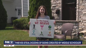 Thief steals dozens of popular yard signs made by 12-year-old suburban girl