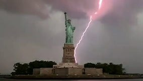Lady Liberty stands tall – amid lightning strike in NY Harbor