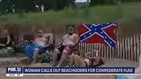 'A racist symbol of hate': Woman confronts family displaying Confederate flag towel at Evanston beach