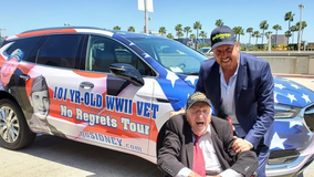 101-year-old vet leads caravan of 101 cars through Bay Area to commemorate end of WWII