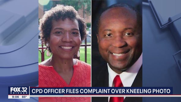 Chicago cop files complaint against fellow officer over viral kneeling photo