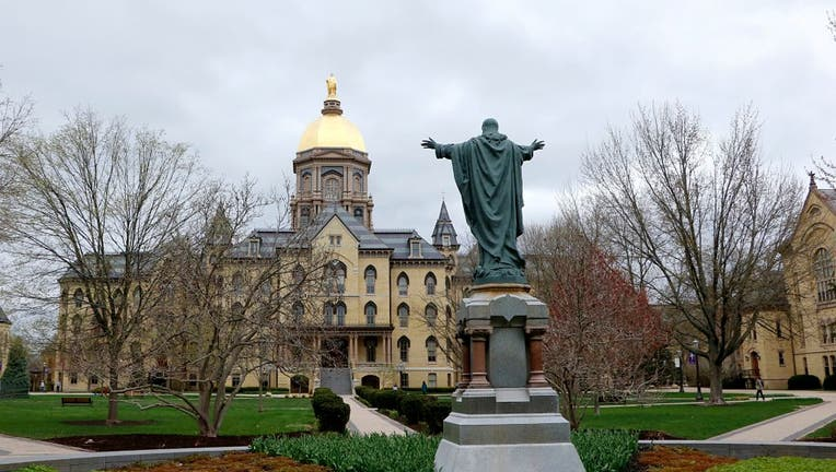 FILE - Campus of University of Notre Dame near South Bend, Indiana.