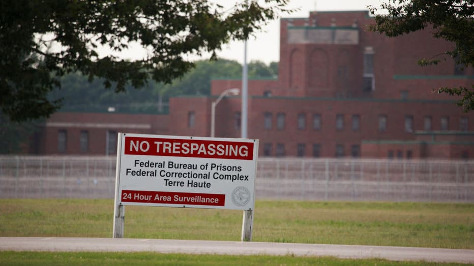 View of a sign outside the Terre Haute Federal Correctional