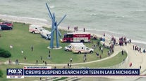Search suspended for teen who jumped into Lake Michigan with friends
