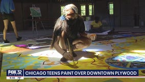 Chicago teens come together to paint mural on boarded-up bank