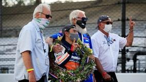Takuma Sato wins Indy 500, celebrates with David Letterman, Bobby Rahal and Mike Lanigan