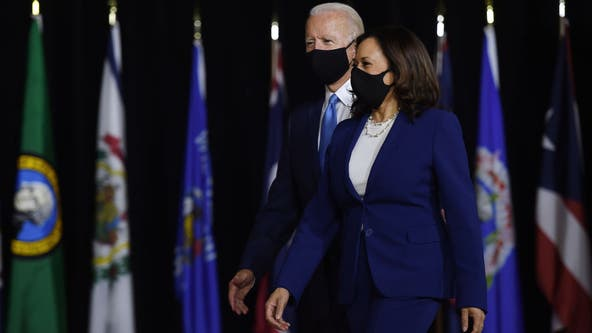 Biden, Harris lash Trump at debut of historic VP choice