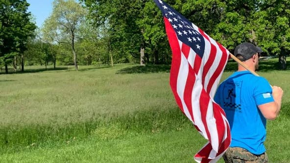Illinois man takes American flag with him on daily runs